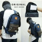 Tas Sling Bag Navy Brown