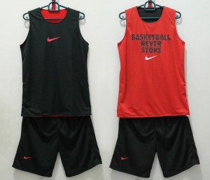 Jersey Basketball Never Stop Hitam Merah