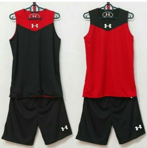 Jersey Basket Under Armour Hitam Merah
