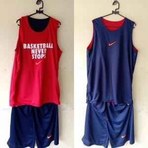 Jersey Basketball Never Stop Donker Merah
