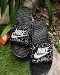 Sandal Slide Basket Nike Hitam Putih
